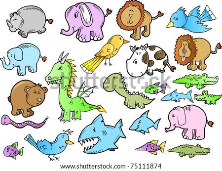 Cute Safari Animal Doodle Sketch Color Stock Vector (Royalty Free ...