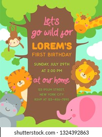 Cute safari cartoon animals and big tree illustration with copy space for kids party invitation card template.