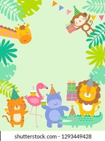 Cute safari cartoon animals border design for kids party invitation card template.