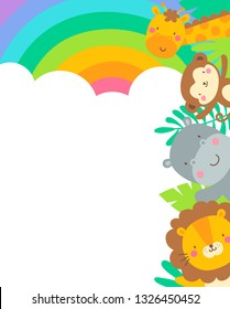 Cute safari cartoon animals border with copy space for kids party invitation card template.