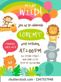 Cute safari cartoon animals border with cloud shaped copy space for kids party invitation card template.