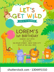Cute safari cartoon animals with copy space for kids party invitation card template.