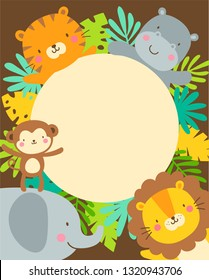 Cute safari cartoon animals and tropical leaves border with copy space for kids party invitation card template.