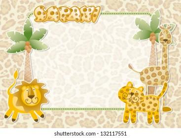 Cute safari wallpaper - Wild animals party vector invitation card