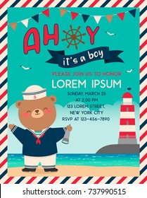 Cute sailor bear cartoon with beach background for baby shower invitation card template