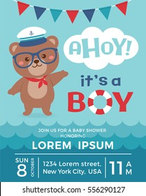 Cute sailor bear cartoon illustration with ahoy it's a boy typography for baby shower invitation card design template