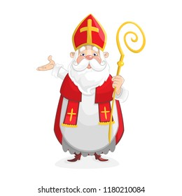 Cute Saint Nicholas cartoon character