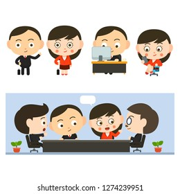 cute salaryman in office.People in suit. It is an illustration of a business team.