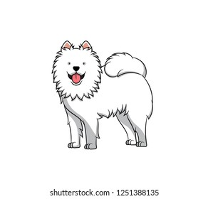 Cute Samoyed Cartoon Dog. Vector illustration of purebred samoyed dog.