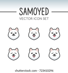 Cute Samoyed dog breed vector icon sticker set inspired by kawaii Japanese anime style. Samoyed puppy face with various emotions. Emoticon, emoji or costume mask template. Expanded lines.