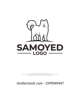 Cute samoyed dog logo with white background