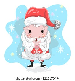 Cute Santa cartoon hand drawn vector illustration. Can be used for baby t-shirt print, fashion print design, children wear, baby shower celebration, greeting and invitation card.