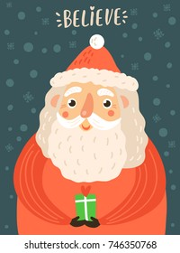 Cute Santa Claus. Christmas greeting card