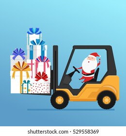 Cute santa claus drives forklift truck loading big pile of colorful wrapped gift boxes. Cartoon Vector Illustration