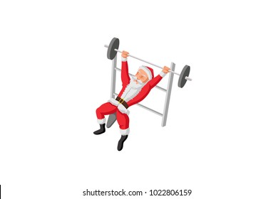 Cute Santa Claus exercising . Vector Illustration. Isolated on white background.