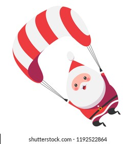 Cute Santa Claus flying on his parachute. Vector illustration isolated on white background.