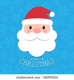 Cute Santa Claus head with Merry Christmas text on blue snowflakes background, Greeting gift design template, Flat design vector Illustration