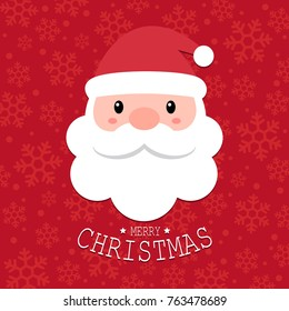 Cute Santa Claus head with Merry Christmas text on red snowflakes background, Happy X'mas new year greeting gift design template, Flat design vector Illustration