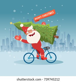 Cute Santa Claus on bicycle with christmas tree. Vector illustration, template for christmas cards
