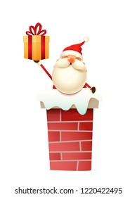 Cute Santa Claus on the chimney with gift vector illustration isolated on white background