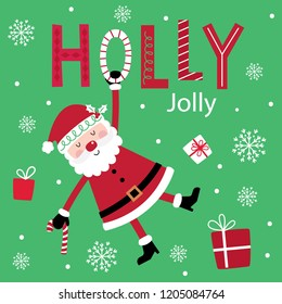 Cute Santa Claus on decorative text holly jolly design with red and green color