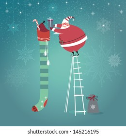 Cute Santa Claus on ladder putting gifts into extra long Christmas stocking. Vector EPS 10 illustration.