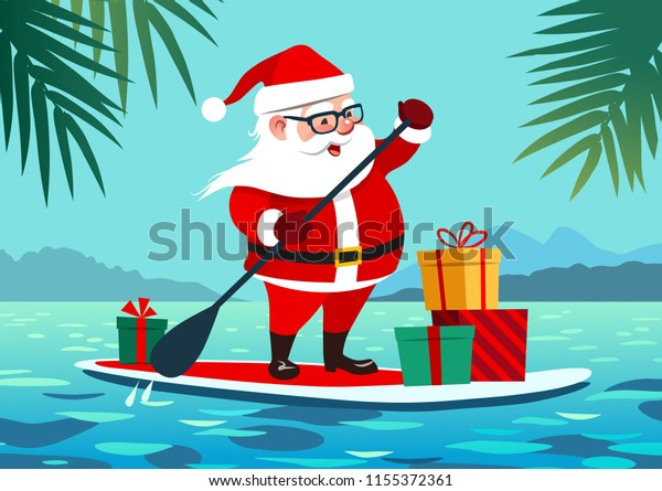 Christmas In July Santa Clipart.Cute Santa Claus On Paddle Board Stock Vector Royalty Free