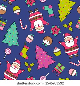 Cute santa claus, pine tree and christmas elements seamless pattern background.