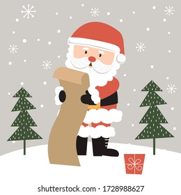 Cute santa claus is reading the gift list, Vector illustration