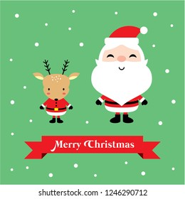 cute santa claus and reindeer merry christmas greeting card vector.