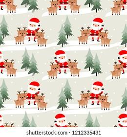Cute Santa claus and reindeer seamless pattern. Cute Christmas concept.