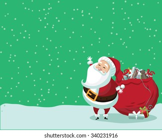 Cute Santa Claus standing in the snow with a bag of gifts. With space for your copy. EPS 10 vector royalty free illustration.