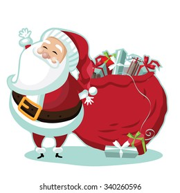 Cute Santa Claus standing in the snow with a bag of gifts. EPS 10 vector royalty free illustration.