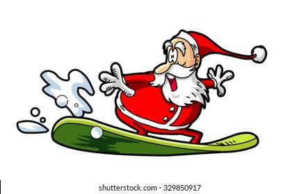 cute santa claus surfing vector