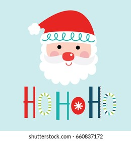 Cute Santa clause with ho ho ho typography