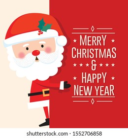 Cute Santa Clause with Merry Christmas and happy new year letter on red background, Vector illustration