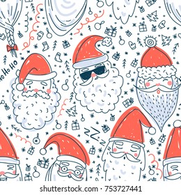 Cute Santa Clauses vector seamless pattern. Can be printed and used as Christmas, New Year, Xmas wrapping paper, background, wallpaper, textile, fabric