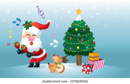 A cute Santa and his reindeer is singing and dancing under the Christmas tree. Vector.