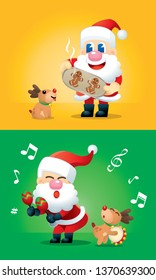 A cute Santa and his reindeer in various posts, with colourful backgrounds. Vector.