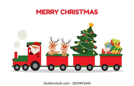 Cute santa and reindeer riding Christmas train. Winter holiday clip art. Train carrying presents and christmas tree.  Flat vector cartoon style isolated on white background.