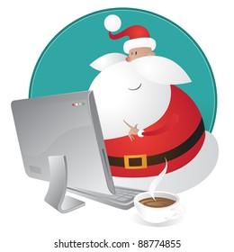 Cute Santa shopping for Christmas on his computer
