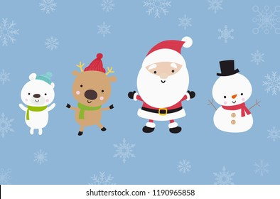 Cute Santa snowman with animal cartoon jumping with happiness over snow floor and snow falling flat color and simply design vector illustration
