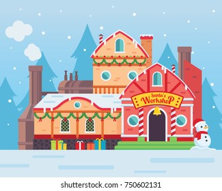Cute Santa's Workshop Building Illustration, Suitable For Merry Christmas Card Illustration, Banner, And Other Christmas Related Celebration