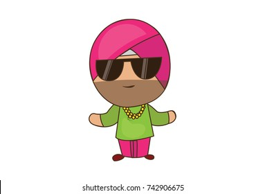 Cute Sardar Character with a swag. Vector Illustration. Isolated on a white background.