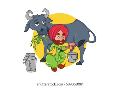 Cute Sardar Milkman and cow eating grass. Vector illustration. Isolated on white background.