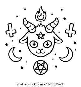Cute Satan sign drawing, cartoon devil goat head with pentagram, fire, crescent moons and upside down crosses. Black and white satanic symbols doodle, tattoo design vector illustration.