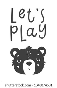 Cute scandi black and white card with bear. Monochrome stylich kids poster in scandinavian style with little bear and lettering. Vector illustration perfect for children, baby nursery desigsn or print