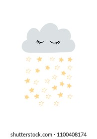 Cute scandi nursery poster or card with gray cloud and yellow stars. Modern stylich kids poster in scandinavian style. Good for children, baby nursery desigsn and print. Hand drawn doodle