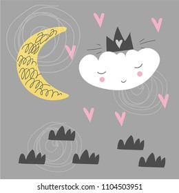Cute scandinavian poster with cloud, moon and hearts. Kids drawing. Cartoon style. Vector illustration