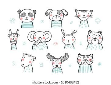 Cute Scandinavian Style Animal Faces Set. Hand drawn Doodle Cartoon Animals. Vector illustration